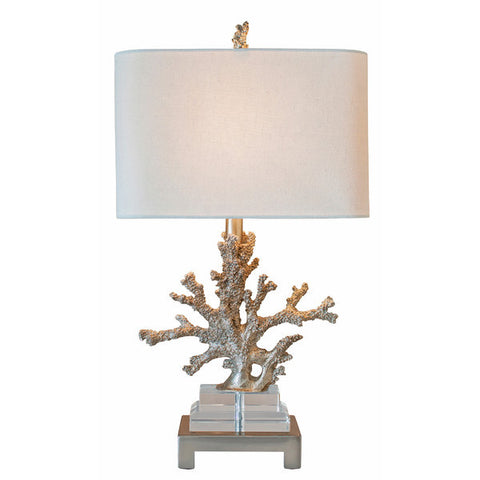 ... Coastal Retreat Silver Coral   Table Lamp With White Oval Shade
