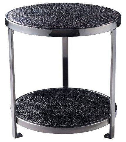Crocodile Faux Leather Coffee Side Table - Black