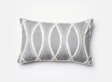 Grey White Embroidery Design Accent Pillow Cushion