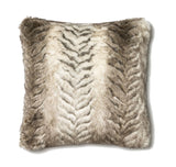 FAUX FUR SQUARE ACCENT PILLOW CUSHION - WHITE / GREY