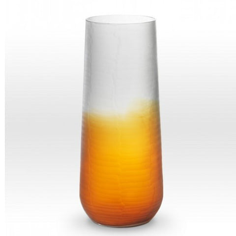 "SUNSET 16"" Ombre Amber Smoke Cut Vase"