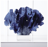 Blue Coral Sculpture on Glass Base - Cold Cast Porcelain/Glass