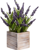Faux Lavender Plant in a White Wood Box