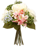 Artificial Silk White Rose, Pink and Hydrangea, Sedum Flower Bouquet 9.5""
