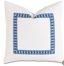 White Accent Pillow with Border