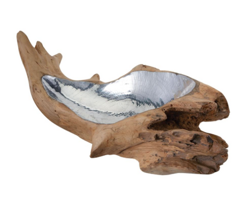 Teak Root Bowl with Aluminum Insert