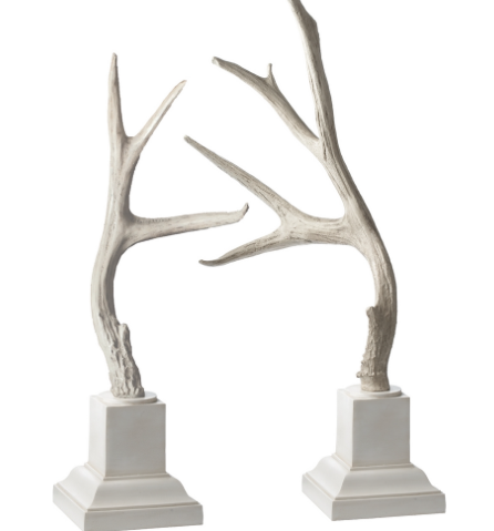 Weathered Resin Buck Antlers Set/2