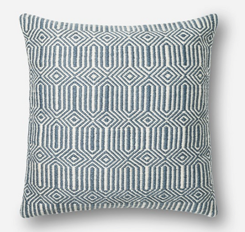 Blue/ Ivory Accent Pillow