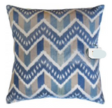 Blue Chevron & Stripes Pillow Cushion 22x22