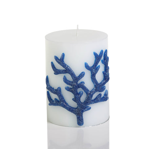 Blue Coral Wrapped Candle 4""