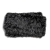 ZORA FAUX FUR THROW BLANKET - WHITE/ BLACK