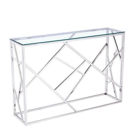 Carole Console Glass Top Geometric Table
