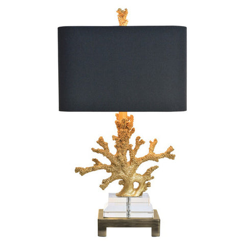 Gold Coral with Black Linen Shade - Table Lamp