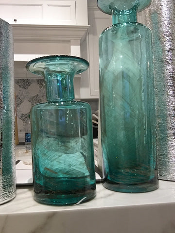 Glass Vase with Glitter Aqua (lg)