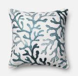 Blue Coral Design Accent Pillow 18x18