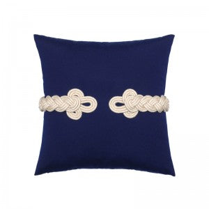 Coastal Outdoor Pillow - Navy Frog's Clasp Square