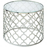 Brushed Nickel Glass Top Side / Accent Table
