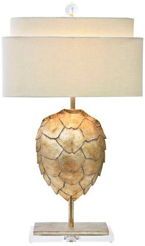 Silver Resin Tortoise Shell with Oval Shade - Table Lamp