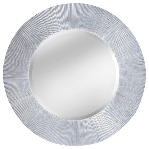 Contemporary Sculpted Knife Edge Grooves Mirror