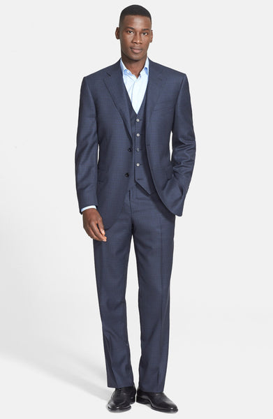 Classic Fit Three-Piece Check Suit