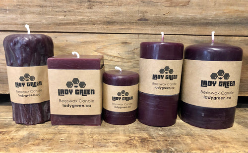 All Natural Beeswax Candles - Purple