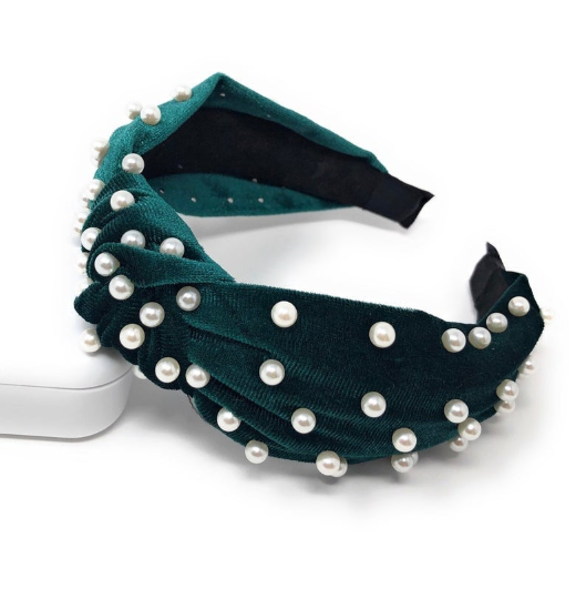 Emerald Green Velvet Pearl Headband
