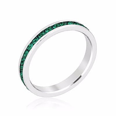 Swarovski Emerald Green Crystal Eternity Ring