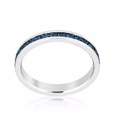 Swarovski Montana Blue Crystal Eternity Ring