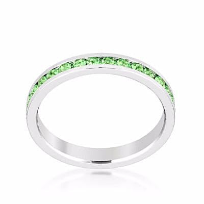 Swarovski Peridot Green Crystal Eternity Ring