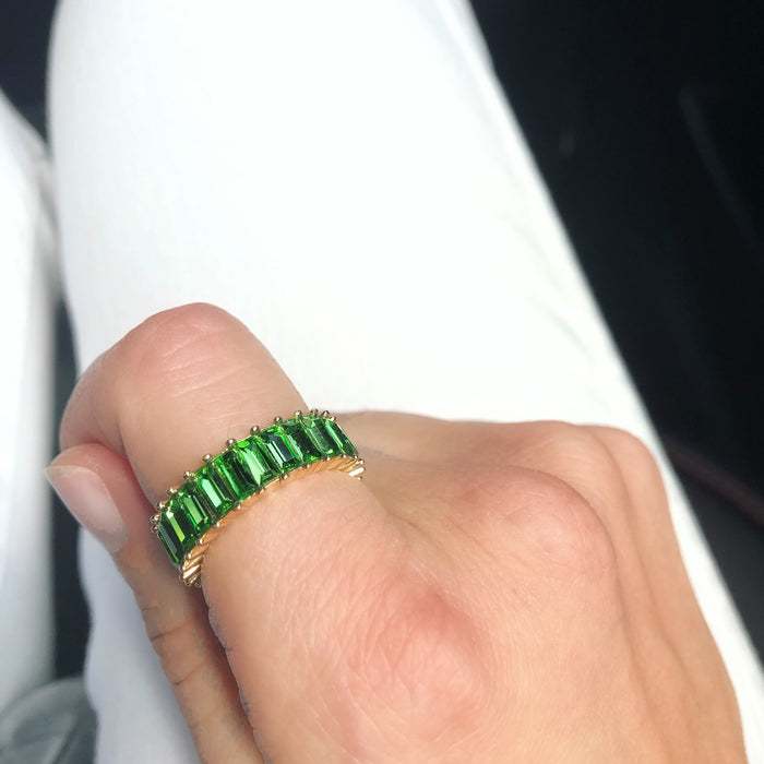Green Sterling Eternity Band