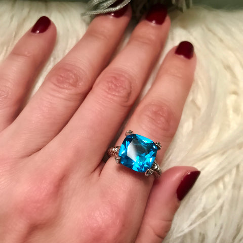 Aqua Cushion Ring
