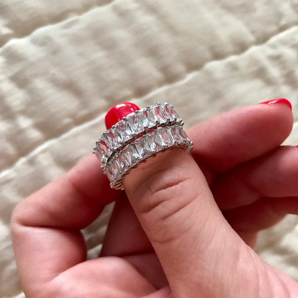 Radiant Cut Eternity Band | Sterling Silver