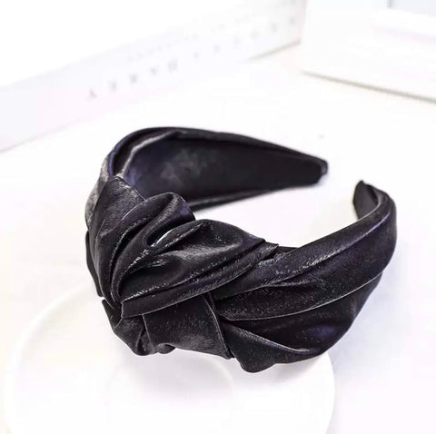 Black Wide Metallic Headband