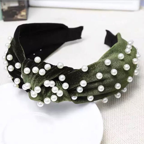 Army Green Velvet Pearl Headband
