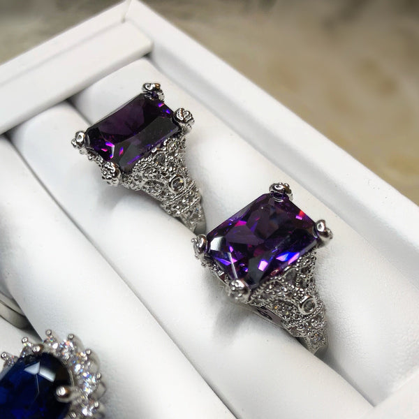 Amethyst Radiant Cut Ring