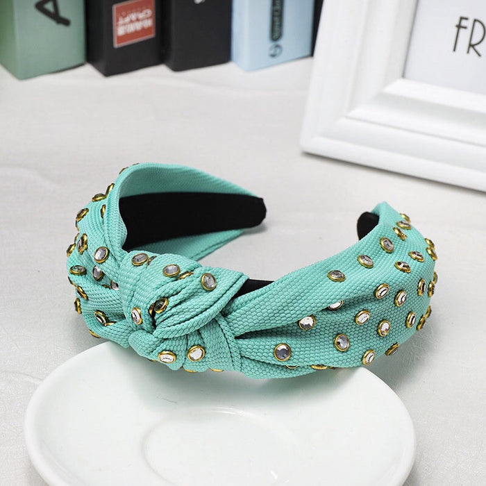Mint Green Wide Rhinestone Headband