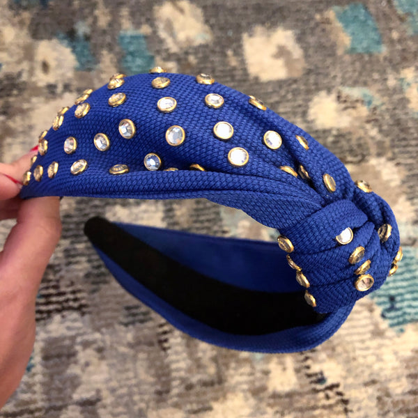 Deep Blue Wide Rhinestone Headband