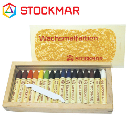 Wax Stick Crayons Wooden Box 16