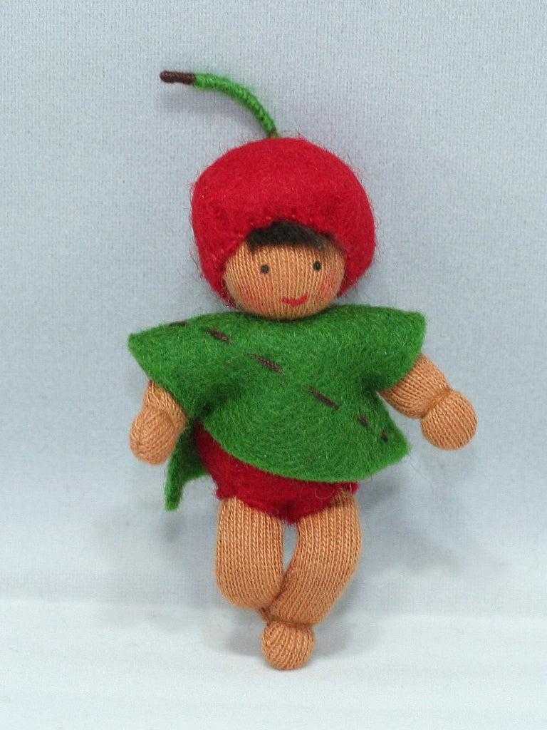 Cherry Baby Fairy (bendable felt doll) - medium skin