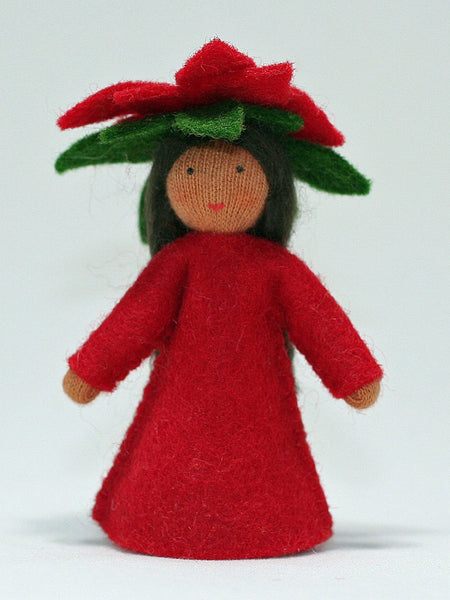 Poinsettia Fairy, Standing doll, red - medium skin