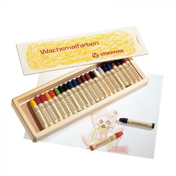 Stockmar Wax Stick Crayons Wooden Box - 24 Assorted