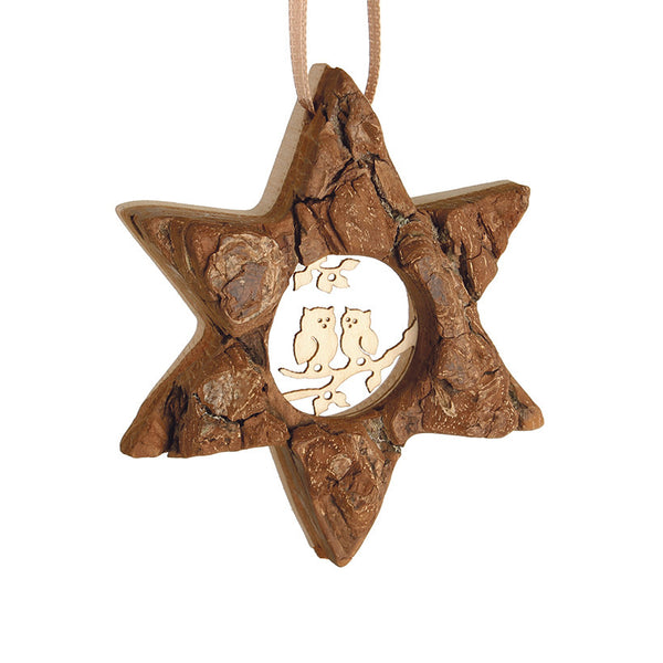 Bark Star Ornament with Owls