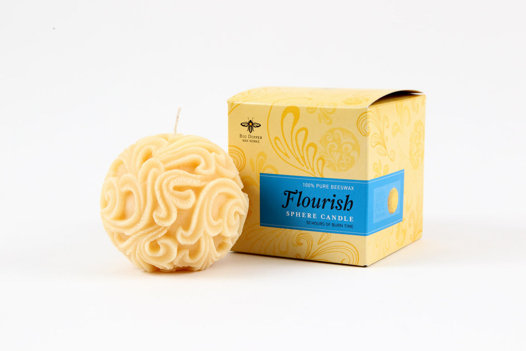 Sphere Beeswax Candle, Flourish
