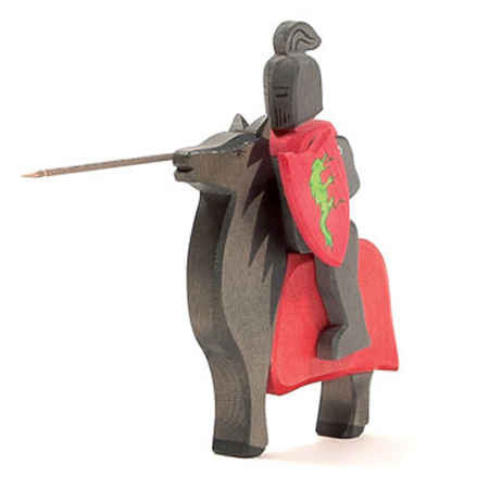 Black Knight with Horse, Osthemier Wooden Toy