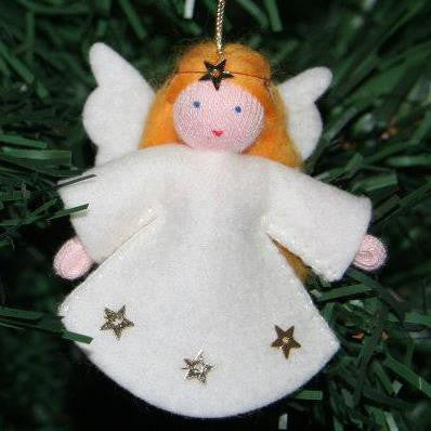 Ginger Lil' Angel, hanging doll, white/orange