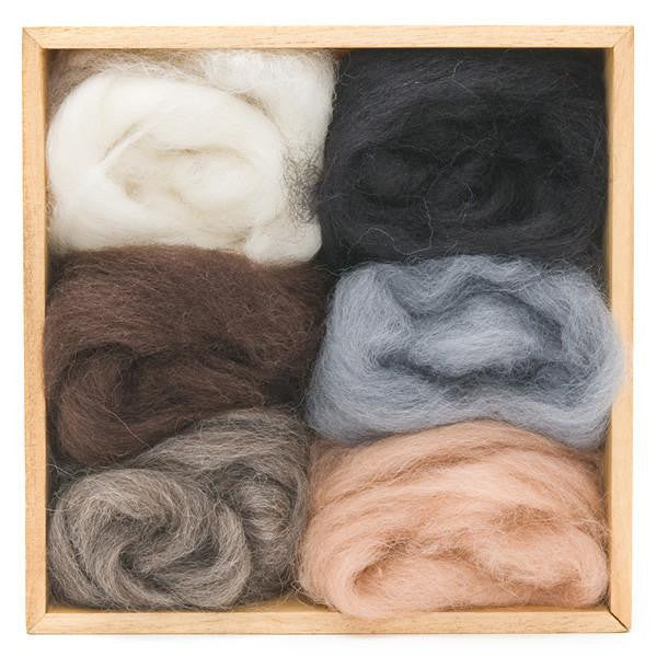 Wool Roving 6-pack, Neutral