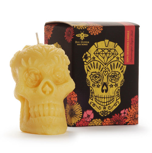 Sugar Skull Beeswax Candle
