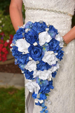 Colorful Artificial Flower Wedding Bouquet Corsage Royal Blue White Rose With Silver Accents Set Angel Isabella