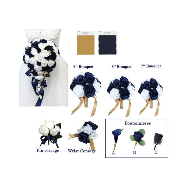 Navy Blue and White Roses with Gold Accents - Pick Your Flowers! - Angel Isabella