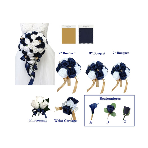 Navy Blue,Gold and White